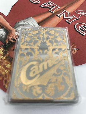 Camel Silver Plated W/ Gold Inlay Camel Zippo Lighter 2-Sided CZ #353