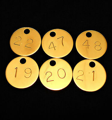 Solid Brass Number HOTEL MOTEL ROOM KEY FOB Tag Ring