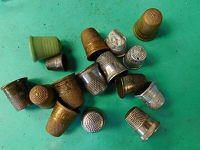 15 Dressmakers Vintage Metal Finger Thimble Sewing Neddle Shield LOT OF 15