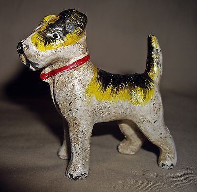 FOX TERRIER DOG MINIATURE CAST IRON PAPERWEIGHT STATUE Wire Haired Terrier