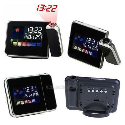 Projection Digital Weather LCD Snooze Alarm Clock Color Display + LED Backlight