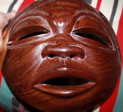 Large Circular ET African Mid Century carved African Mask punch marked detail
