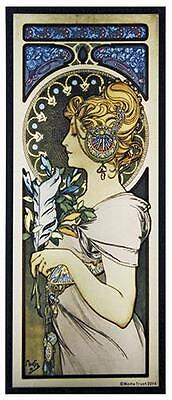 Alphonse Mucha - FEATHER - Stained Glass Panel Art Nouveau Maiden 1899