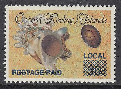 """COCOS ISLANDS 1990 (1c) on 30c """"LOCAL"""" SURCHARGE, Mint Never Hinged"""