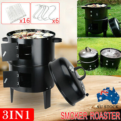 3 IN 1 Portable BBQ Charcoal Smoker Barbecue Grill Roaster Garden Outdoor Campin