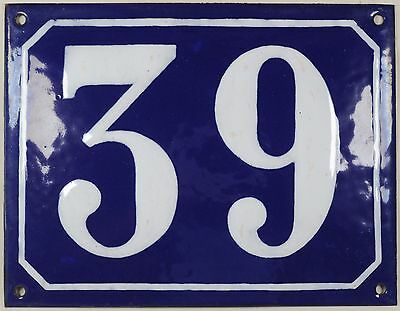 Large old blue French house number 39 door gate plate plaque enamel steel sign