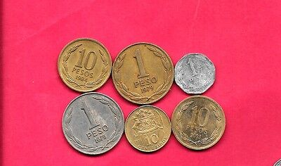Chile Chilean 6 Diff Different 1971-2003 Coin Lot Collection Set Inc Old & Large