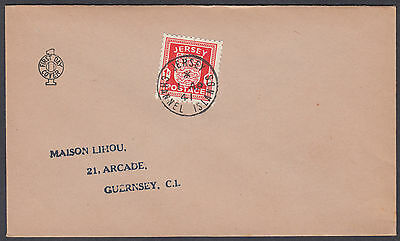 1941 Jersey Occupation 'Arms' 1d scarlet Display FDC; Jersey CDS; Fine