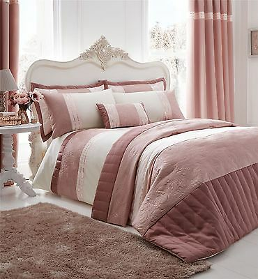 Gatsby Bedspread Quilted Throw, King Size Throw, Pink, 240 x 260 cm