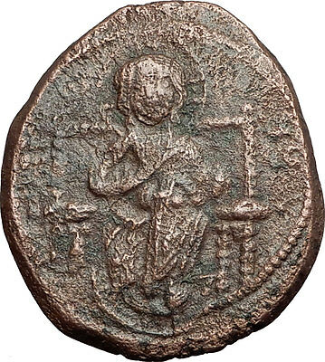 JESUS CHRIST Class D Anonymous Ancient 1042AD Byzantine Follis Coin Rare  i58915