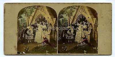 Stereoview Happiest Day - Wedding - 1850s Hand Tinted Genre Scene