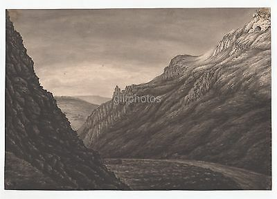 3 Watercolour Drawings Of Cave & Mountains 1833 By Elizabeth Petit (1802 - 1893)