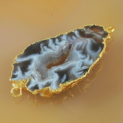 Natural Agate Druzy Geode Slice Connector Gold Plated T027561