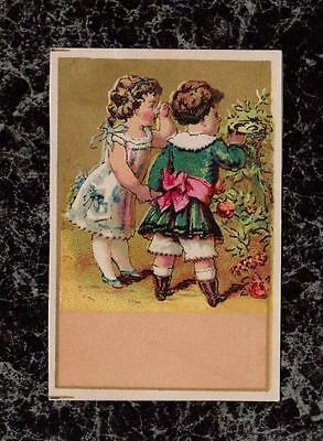 Children Looking at Bird's Nest Victorian Small Gilded Stock Trade Card 3x2