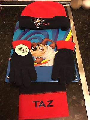 Taz Childs Hat,scarf And Glove Set (New)