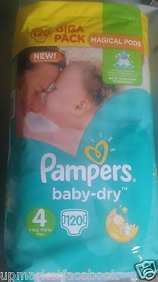 Pampers Baby Dry Giga Pack Size 4 7kg-18kg Magical Pods 120 Nappies