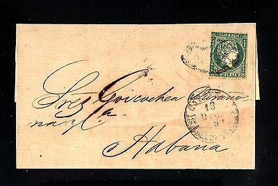 14961-SPANISH CUB.-OLD COVER CARDENAS to LA HABANA.1860.Spain colonies.ISABEL II