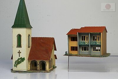 H0 1:87 2x Faller edificio casa iglesia building townhouse church