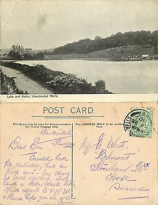 a0881 Lake and Hotel, Llandrindod Wells, Wales postcard posted 1910 stamp