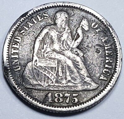 1875-P US Silver Seated Liberty Dime Antique USA Currency Real Old Vintage Money