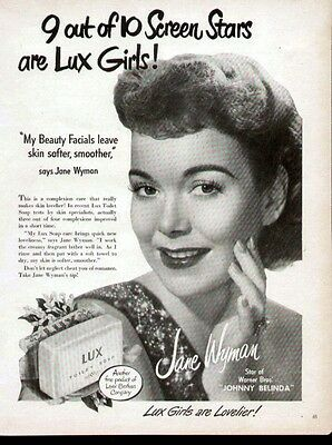 Jane Wyman Hollywood Movie Star 2 1948 & 1955 ads for Lux and Lustre Cream