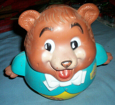 Vintage 1969 Fisher Price Chubby Cub Roly Poly Pull Toy Bear #164