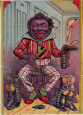 Black Man Polishing Standard Screw Shoes Victorian Paper Trade Card Trimmed
