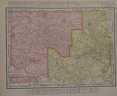 1898 Oklahoma & Indian Territory Antique Dated Color Atlas Map* Texas on back