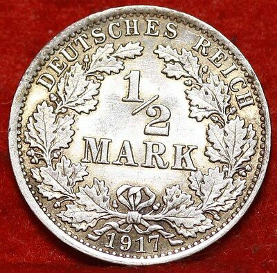 1917-A Germany  1/2 Mark Silver Foreign Coin Free S/H