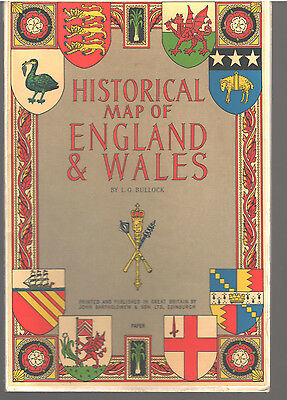 HISTORICAL MAP OF ENGLAND & WALES and BRITISH ISLES CATHEDRALS 2 Bartholomew map
