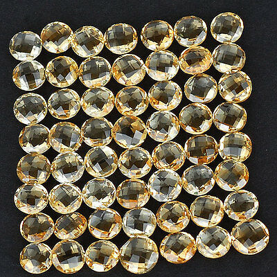 VVS 69 Ct/56 Pcs Unheated Natural Citrine Round Checkerboard Cut High End Jewels