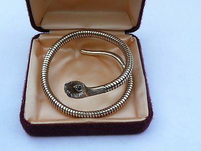 Stunning Boxed Vintage 9Ct Gold Snake / Serpent With Ruby Eyes Bracelet 21 Grams