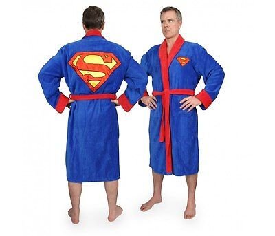 Superman Herren Luxus Bademantel DC Comics Sauna Mantel Polyester neu