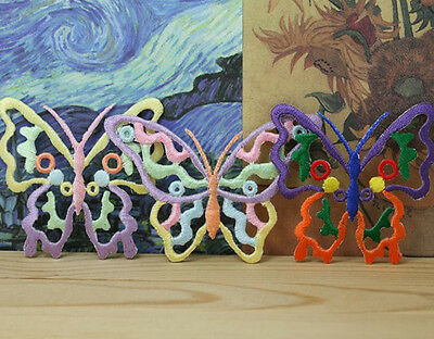 Wholesale bulk  lot  12pcs Rainbow  butterfly sewing on   iron On Patch  5cm