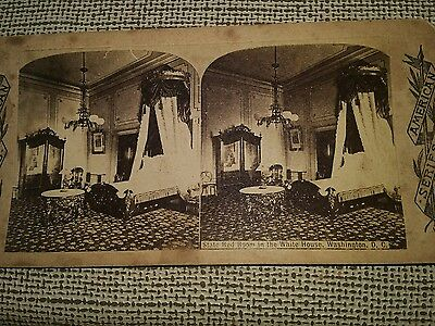 STEREOVIEW CARD State Bedroom in the Whitehouse Washington DC American Series.