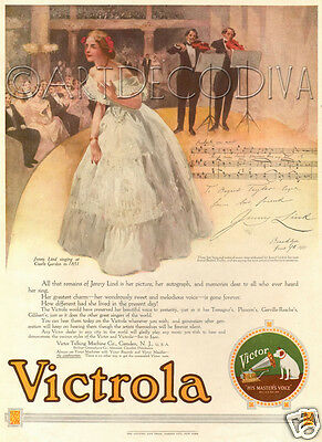Antique '16 Victrola Phonograph OPERA Music JENNY LIND Singing Singer Theater Ad
