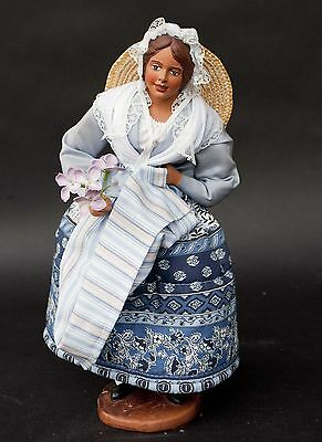 "Vintage Santon de Provence Signed Terracotta Clay Doll of a young Woman (12"")"
