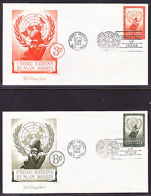 """United Nations """"Artmaster"""" 1954 Human Rights  TWO  First Day Cover addressed"""