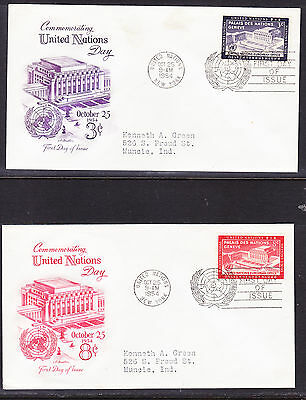"""United Nations """"Artmaster"""" 1954 U.N. Day TWO  First Day Cover addressed"""