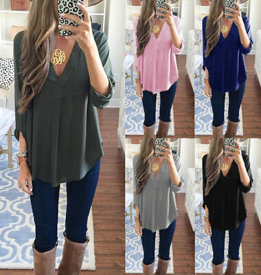Fashion Women Loose T shirt Blouse lady Casual Long Sleeve Tops Shirt plus size