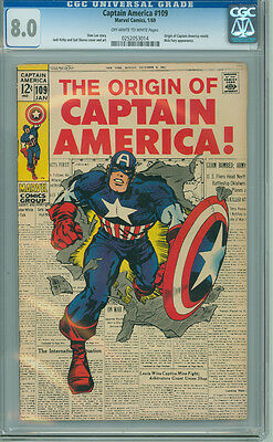 Captain America 109 CGC 8.0 VF OW/W Marvel 1968 Origin Issue