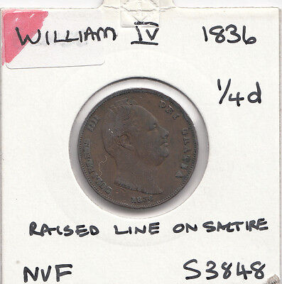 1836 William 1111 Farthing S3848 With Many Errors See Description
