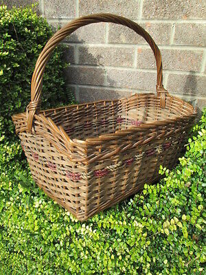 VINTAGE 1950s WICKER BASKET-COLOURED PLAITED STRAW BAND-STURDY GOOD CONDITION.