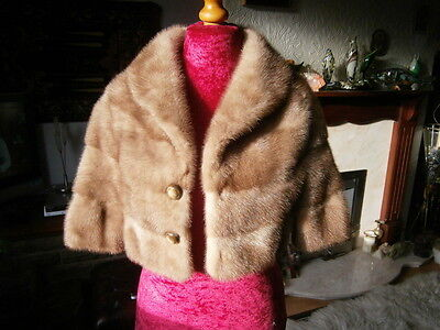 Extraordinary vtg BLONDE mink fur BRIDAL/EVENING bolero, soft silky pelts, MINT!