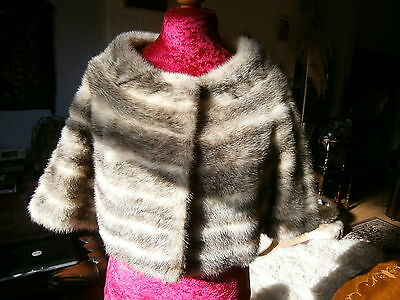 Marvellous RARE vtg BLACK/CREAM/BROWN cross mink fur bolero, supple pelts, MINT!