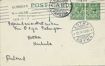 GB 1913 1/2d Pair P/S Card with Kilburn NW Machine Cancel to Kotka Finland