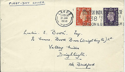 GB 1938 KGVI 2d & 3d on FDC with Leeds British Industries Fair Cancel