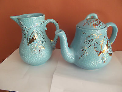Wade Turquoise Blue teapot and Milk Jug