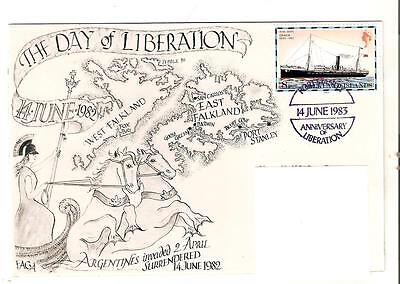 FAGA -DAY OF LIBERATION FALKLANDS WAR Falkands Handstamp 1983  Only 22  Made