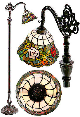 "Amazing ""Romantic Rose "" Edwardian Stained Glass Bridge Arm Tiffany Floor  Lamp"
